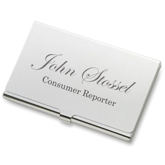 Personalized Silver Business Credit Card Holder Case Custom