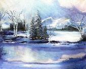 Original Painting  'Winters Splendor'   24x30inches   Frame,double matting,glass included with purchase