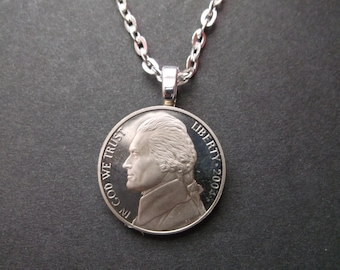 United States Five Cent Uncirculated Cameo Nickel Coin Necklace Frosted Nickel Coin Necklace  US 2004 Five Cent Uncirculated  Coin Pendant