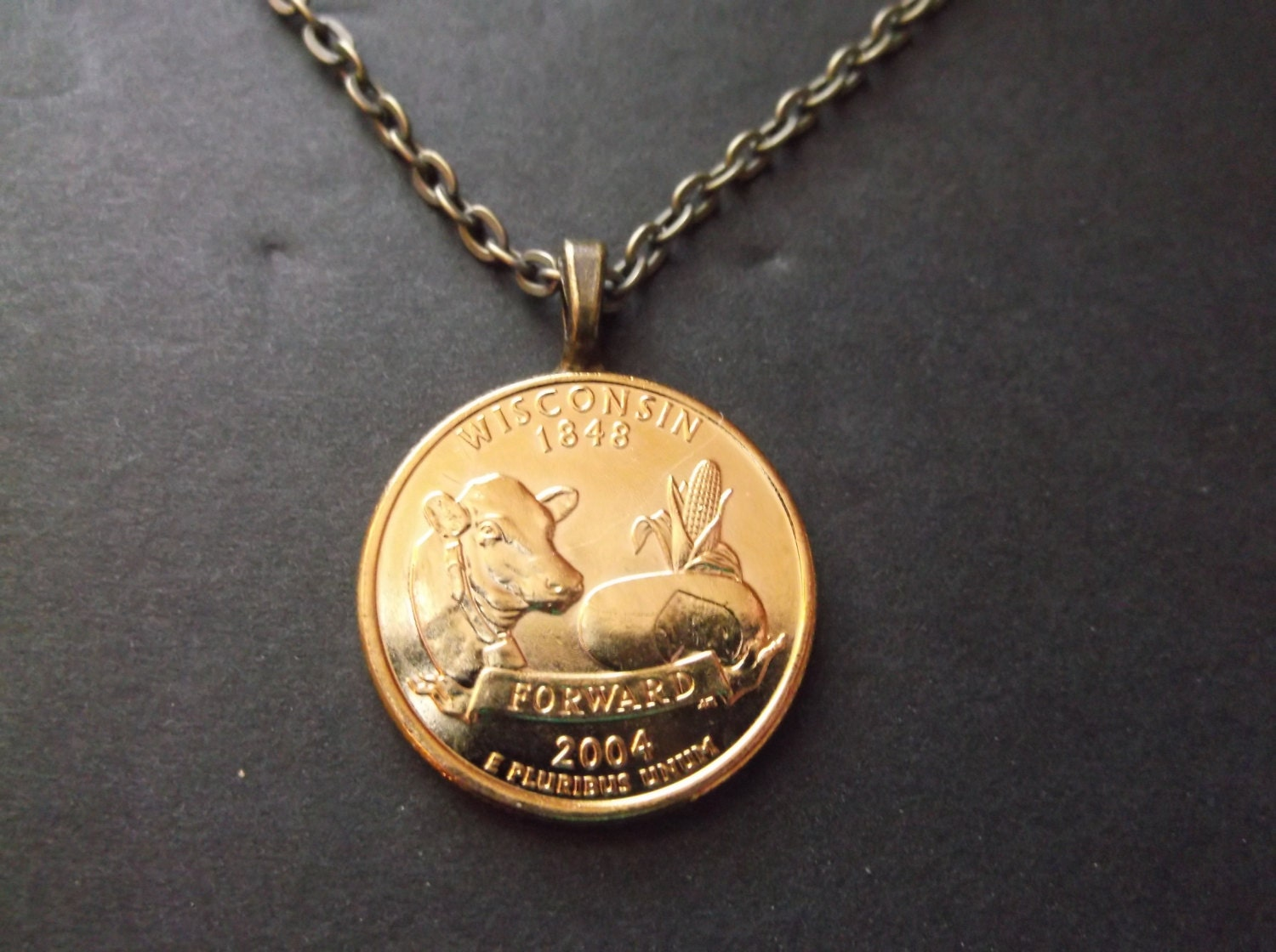 Wisconsin United States Gold Colored Quarter Coin Necklace