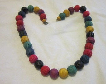 Vintage 1960s Hippie Colorful Wood Bead Necklace Groovy