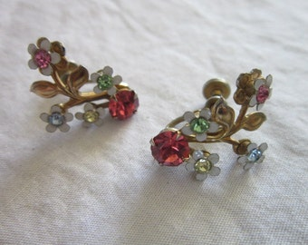 1960's Wonderful Petite Flower Rhinestone Earrings Too Sweet