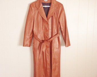 Vintage Woman's  Full Length Leather Coat Tan-Caramel Color - by Winner's Circle Fashions -