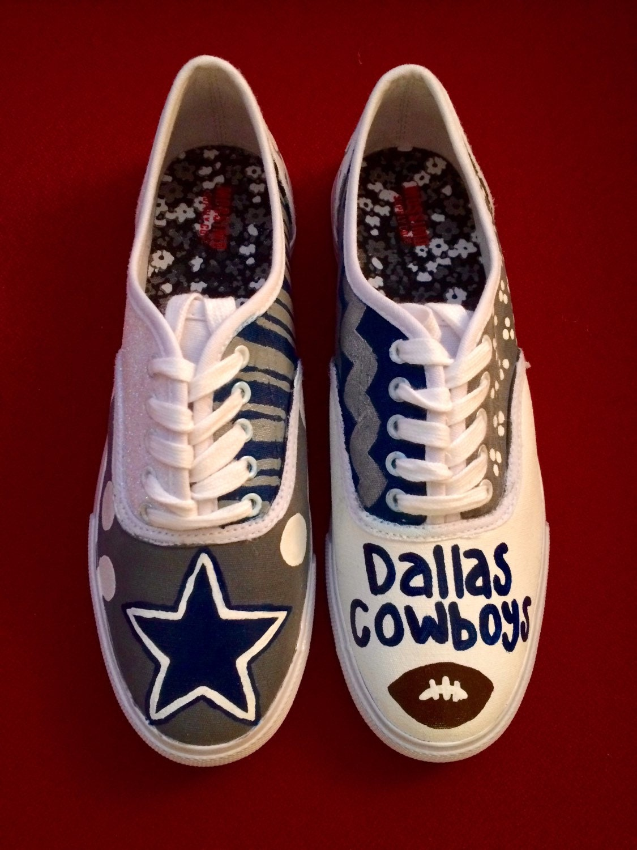 dallas cowboys painted tennis shoes