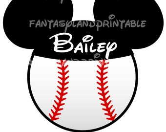 Mickey Baseball Sports DIY JPEG Disney Ears Hat Family Trip DIY Printable Iron Transfer family  Disney trip