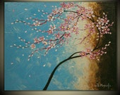 "Original Impasto Acrylic Modern Abstract Art  Painting on  Gallery wrapped Canvas 20"" x 16"", Home Decor, -Spring Blossoms-"