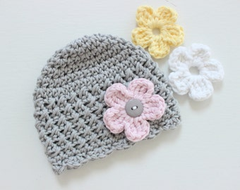 Baby Crochet Hat with Interchangeable Flowers, COLOR of your CHOICE, Baby/Toddler Girl - 12 Months and Up