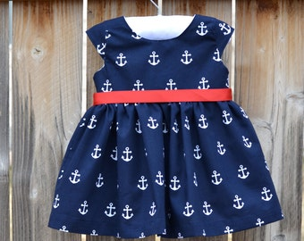 Girls Navy Blue and White Anchor Sailor Dress