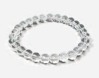 Clear Quartz 8mm Stretch Bead Bracelet, Gemstone Stretch Bracelet, Stackable Beaded Bracelets
