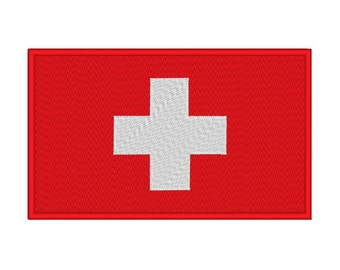 14 SIZES!! Swiss Switzerland Flag Embroidery Machine Design