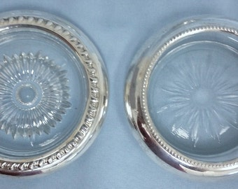 Set of 5 Sterling and Crystal Drink Coasters