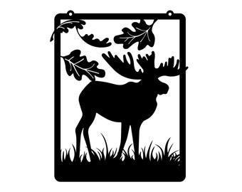 Moose Garden Hanging Metal Wall Art - Black, 12.5x15.5, Metal Sign, Fall Decor, Yard Sign, Outdoor Art, Garden Decor
