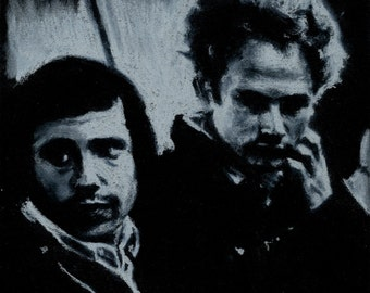 Original A4 chalk drawing of Simon and Garfunkel