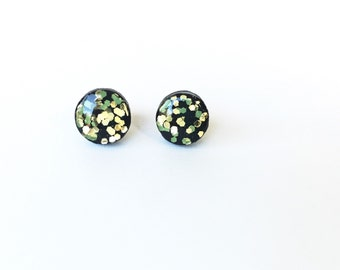 Black Gold Glitter Wooden Earring Post- Hypoallergenic Titanium Post- Painted Wood Earring Studs