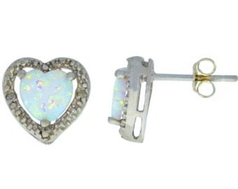 Opal & Diamond Heart Stud Earrings .925 Sterling Silver Rhodium Finish