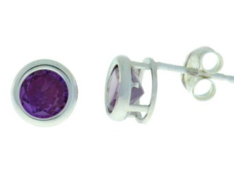14Kt White Gold Alexandrite Bezel Round Stud Earrings