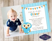 Hoot  Owl Blue Invitation Party Flags, Printable Birthday Invitation, Hoot Photo Invitation, perfect for Giggle and Hoot party