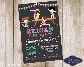 GYMNASTICS BIRTHDAY INVITATION, Printable Gymnastics Invitation, Gymnastic Party Invitation, Gymnastics Chalkboard Typography Invitation