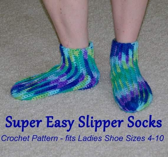 Items similar to pdf crochet pattern super easy slipper socks to