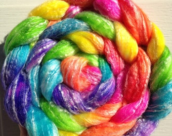 "Neon Rainbow ""Lisa Frank"" Fluorescent SW Merino/Bamboo Spinning Fiber 4oz"