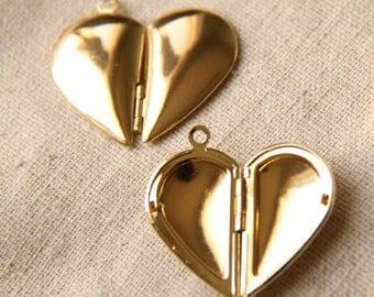 3pairs of 6pcs of half heart locket-30X28mm-BL3025-18k gold