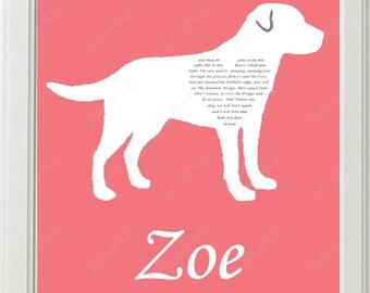 Personalized Labrador Retriever Labrador Retriever Love Rainbow Bridge Poem Pet Memorial 8 X 10 Print Labrador Retriever Dog Memorial
