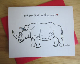 Love Greeting Card: Rhinoceros Cartoon