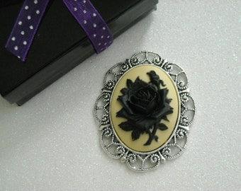 Black Rose Antique Silver Brooch