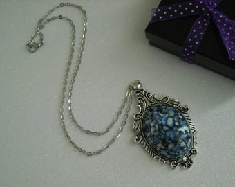 Navy Blue Shell Mother of Pearl Antique Silver Victorian Necklace