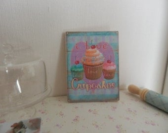 Shabby Cupcakes  Picture Sign Plaque, Dollhouse Miniature Handmade, 1:12  Scale Dolls House