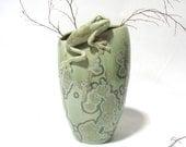 Green crystal glazed vase with frog on rim