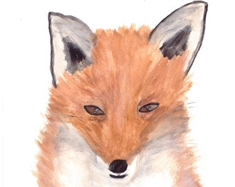 ORIGINAL watercolor painting, fox art, fox painting, woodland animal, UK shop, 9 x 12 inches