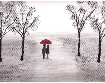 Couple with red umbrella original pastel drawing red umbrella art romantic walk art wall art 12 x 9 inch