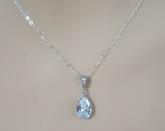 Crystal Bridal Necklace, Bridesmaid Necklace, Crystal Pendant, Wedding Jewelry, Bridal Necklace