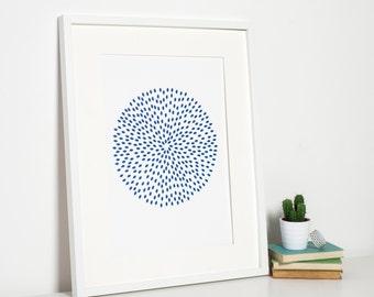 Reduced! Minimalist Navy Blue Circular Illustration Modern Art Print