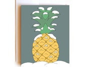 Snowy Pineapple - Merry Christmas Card - Holiday Card - Seasons Greeting Card
