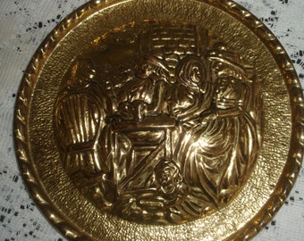 "Vintage Embossed Brass English Wall Plate, Peerage Repoussé Brass Wall decor, Made in England, 8"" Round"