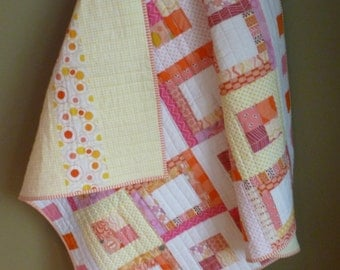 Modern Patchwork Quilt, Pinks, Orange and Yellow Quilt, Handmade Baby Quilt,  Baby Shower Gift, Baby Girl Gift