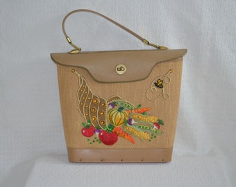 Harvest Themed Beaded 'Enid Collins' Style Bucket Purse