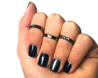 3 Stack Hammered Knuckle Rings - 3 Stack Pinky Rings