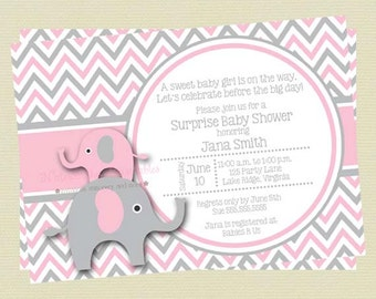 Pink and Gray Elephant Girl Baby Shower Invitation / Pink and Grey Baby Shower / Elephant Printable Shower Invitation DIY Printable File