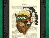 Bison print, bison art, native american art, buffalo print, bison head, americana decor