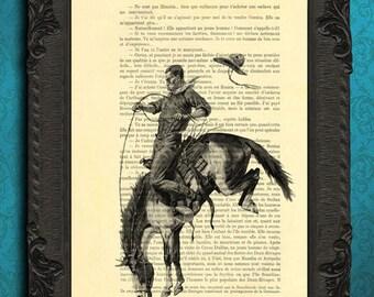 western cowboy rodeo print cowboy art print western art rodeo poster bucking horse art