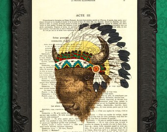 Bison print, bison art, native american art, buffalo print, bison head, americana decor