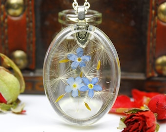 Real Dandelion Forgetmenot Necklace