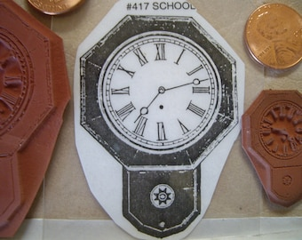 2 school house clocks  rubber stamp un-mounted scrapbooking rubber stamping