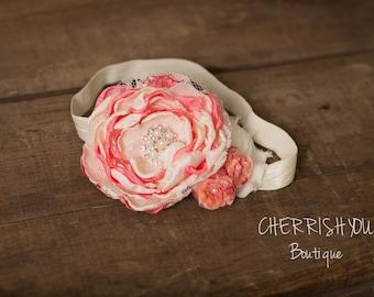 Sherbert Crush Headband - Coral and Ivory Headband - Newborn Photo Prop