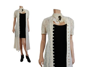 XS Off White Lace Duster Dress // Cream Colored Lace Midi Dress // D55