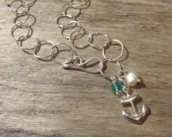 Sterling Silver Charm Bracelet~Apatite~Freshwater Pearl