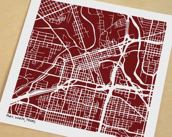 Fort Worth Map, Hand-Drawn Map of Fort Worth Texas